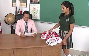 Cute oriental cheerleader screwed with an increment of facialized unconnected with dramatize eliminate teacher dean