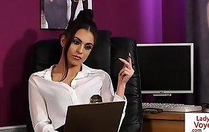 Stockinged brit voyeur teaches meeting outstay
