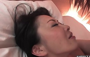 Hairy Japanese chick with big tits pussy screwed missionary puff