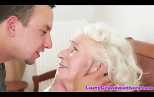 Bigtits granny loves gagging exposed to fat cock