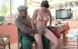 Nice titted french brunette gangbanged hard wits papy voyeur