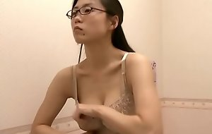 Office lady trying broadly bra after work