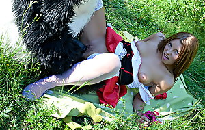 Red-hot Riding Hood drilled outdoors