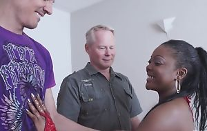Spunky ebony gets properly fucked by two horny white chaps