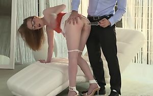 Nerdy girl gets her eager asshole licked and fucked deep