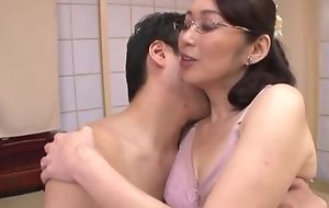 Japanese wife with glasses gets fucked balls bottomless gulf