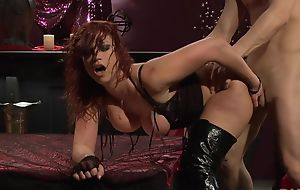 Passionate redhead slut in high boots gets fucked everlasting