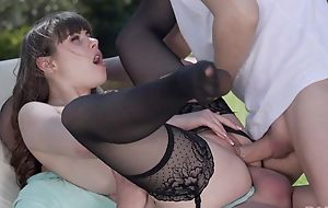 Teeny French girl in stocking gets DPed outdoors