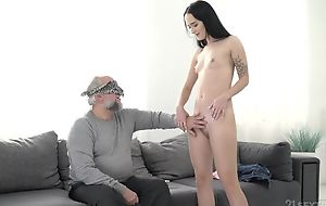 Dark-haired vixen nigh small cans pounded by an older baffle