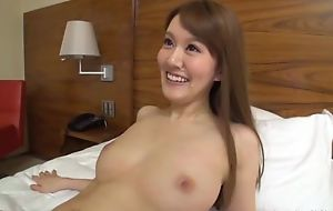 Slim Asian lady sucks with an increment of rides lover's hard horseshit