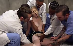 Group of horny studs bangs blonde slattern and she can barely cock a snook at