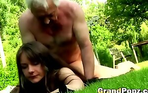 Having sex encircling older guys make this young brunette's life complete