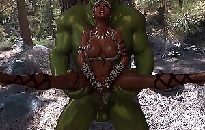 3D Walk-up Queen suffering to fuck with big ogre, which has a big flannel head