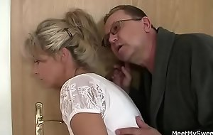 Perverted olds seduces his hot Girlfriend as he leaves