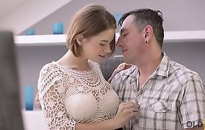 OLD4K. Old male and young colleen have venal diversion in expensive house