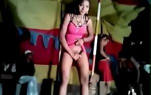 Erotic dancers during village jaatra. Duo sweeping shamelessly displaying the brush prudish