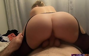 Stepmom helps stepson with porn addiction and lets him jizz inside her