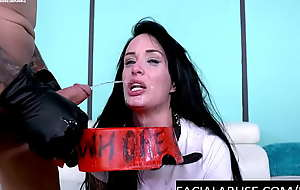 Mouth fucked skank gets pissed mainly
