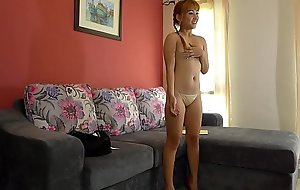Young white-headed Thai girl creampied on casting divan
