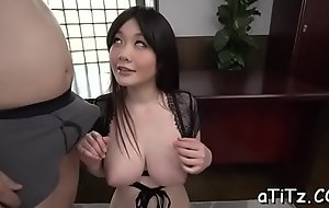 Busty japanese darling arouses with uninhibited titty roger