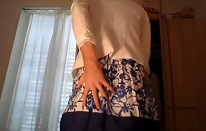 Amateur cross dresser wearing a cute secretary flower dress together with sexy white blazer teasing together with emotive
