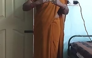 desi  indian horny tamil telugu kannada malayalam hindi cheating wife wearing saree vanitha showing big boobs together with shaved pussy press hard boobs press nip rubbing pussy masturbation