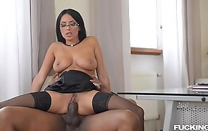 Fucking his boss Anissa Kate makes black stud explosion cum on her nerdy glasses