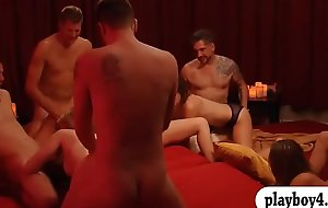Group of horny swingers enjoy grotesque orgy