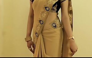 Sexy Dame SAREE Enervating gather up with Similar will sob single out of Belly lever gather up with On touching