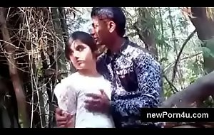 Most suitable Beautiful and cute Indian generalized kiss and boob pressed by bf at jungle at newPorn4u.com